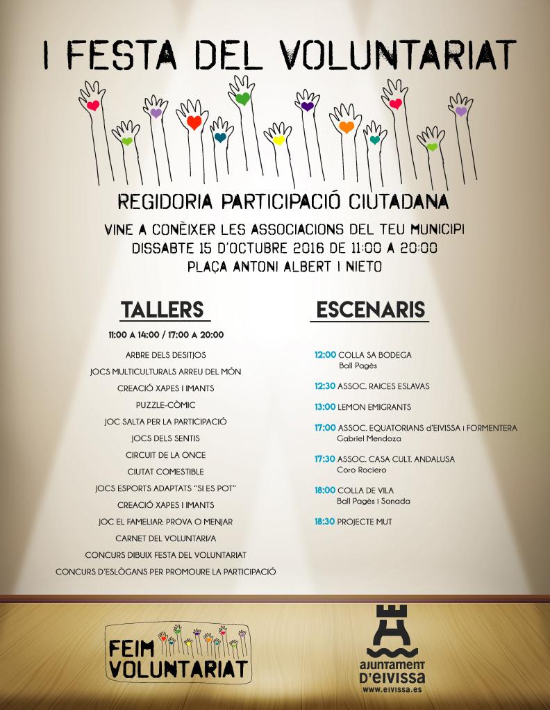 Fiesta del voluntariado sábado 15 de octubre 2016 de 11 a a 20h