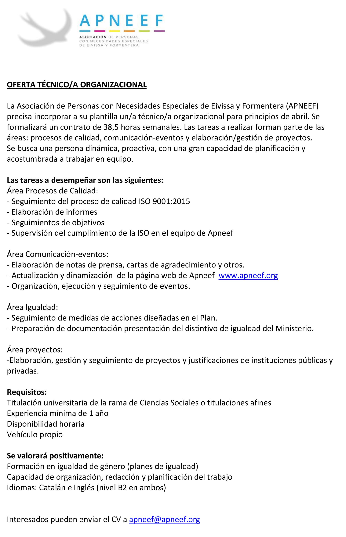 Oferta de Empleo: TÉCNICO/A ORGANIZACIONAL