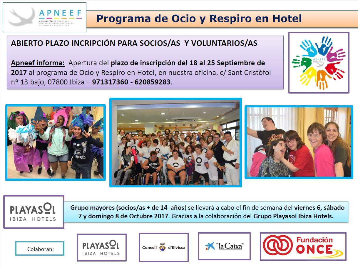 Abierto plazo de inscripción al programa Ocio y Respiro en Hotel
