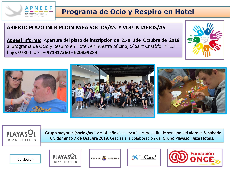ABIERTO PLAZO DE INSCRIPCIÓN OCIO Y RESPIRO EN HOTEL GRUPO MAYORES