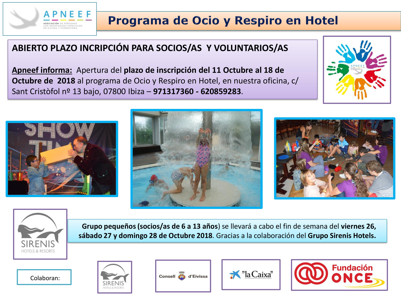 Abierto plazo de inscripción OCIO Y RESPIRO EN HOTEL - grupo pequeños