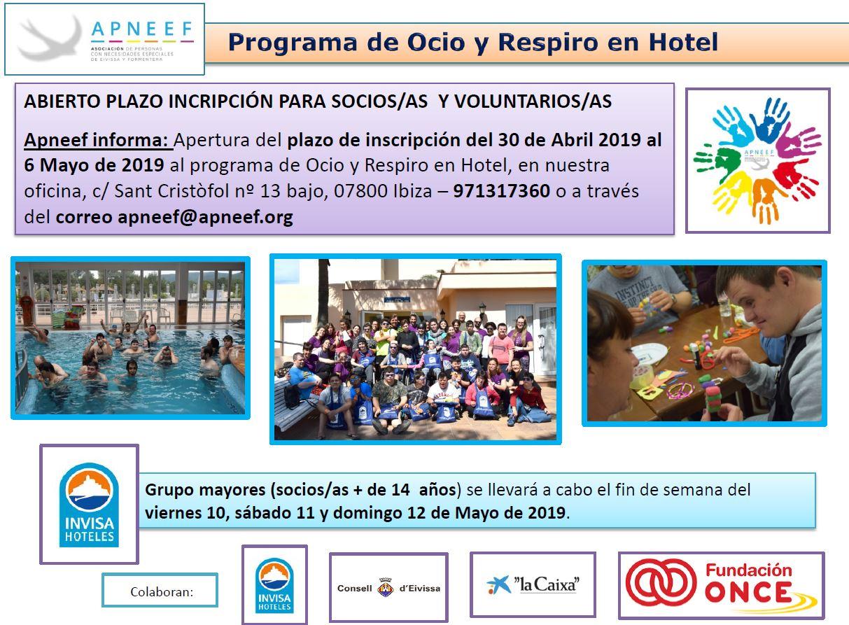 Abierto plazo de inscripción OCIO Y RESPIRO EN HOTEL - grupo mayores (+14 años)