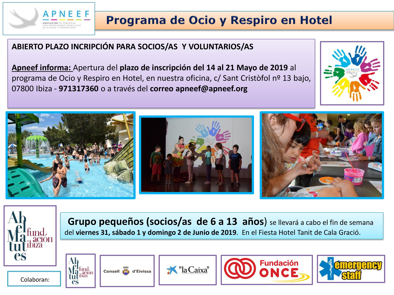 Abierto plazo de inscripción OCIO Y RESPIRO EN HOTEL - grupo pequeños (de 6 a13 años)