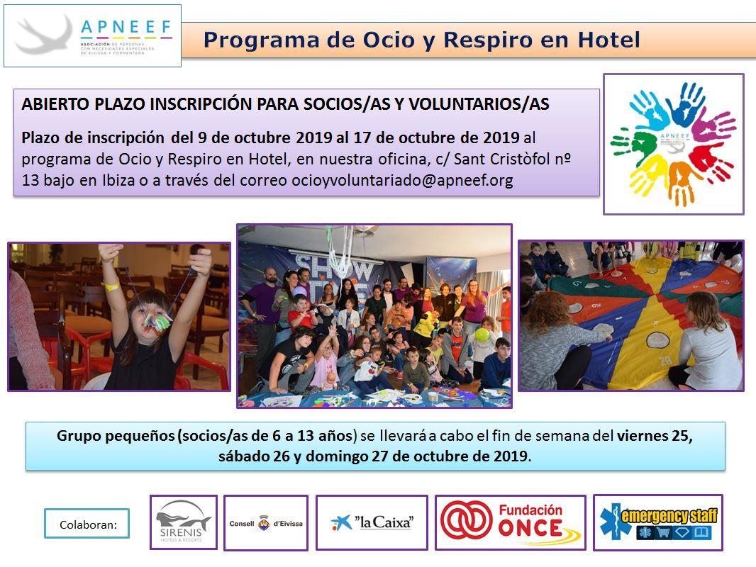 Abierto plazo de inscripción OCIO Y RESPIRO EN HOTEL - grupo pequeños (de 6 a 13 años)